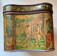 Politics and Cricket - Victorian Biscuit Tin, c1880
