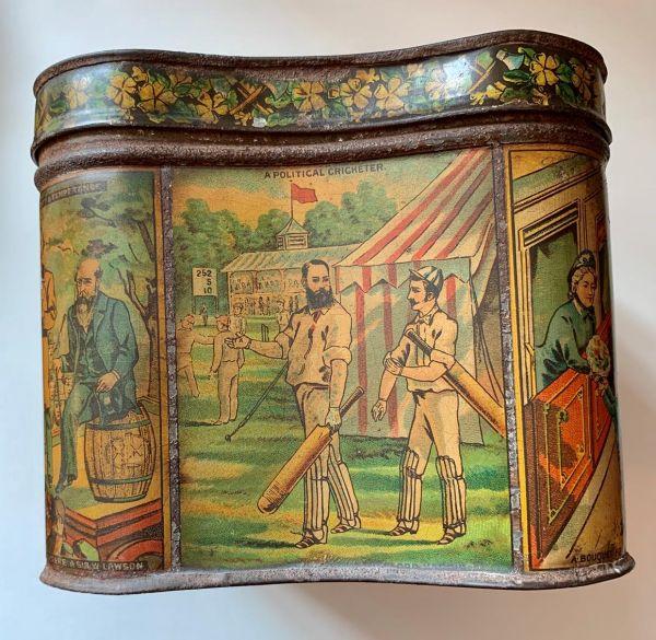 Politics and Cricket - Victorian Biscuit Tin, c1880