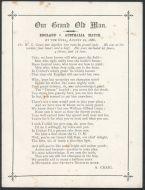 Craig, Albert.  Poem 'Our Grand Old Man' WG Grace