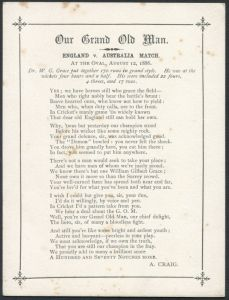 Craig, Albert.  Poem 'Our Grand Old Man' WG Grace