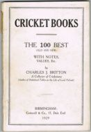 Britton CJ - Cricket Books. The 100 Best (Old And New)