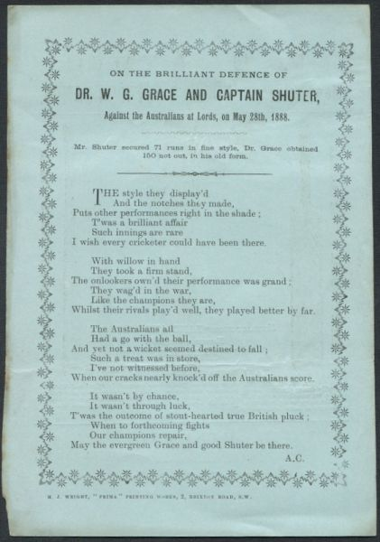 Craig, Albert.  Poem 'Dr WG Grace And Captain Shuter'