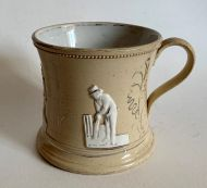 Victorian Staffordshire Mug - William Lillywhite, Fuller Pilch, Thomas Box