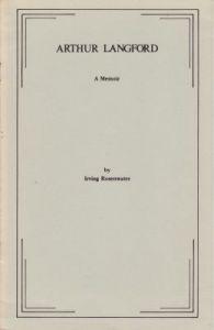 Rosenwater, I: Arthur Langford: A Memoir