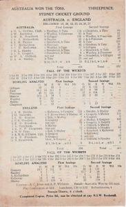 Scorecard - Australia v England, Sydney 1924