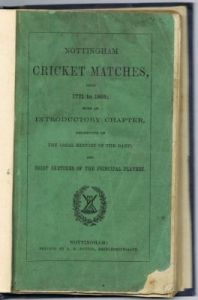 Sutton AK - Nottingham Cricket Matches from 1771 to 1865