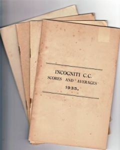 Incogniti CC Scores and Averages Issues for 1935, 1936, 1937 & 1939