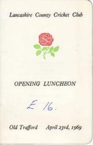 Lancashire CCC Opening Luncheon Menu 1969