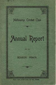 Melbourne CC Annual Report 1934-35