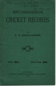 Ashley-Cooper, F.S: Nottinghamshire Cricket Records 1928