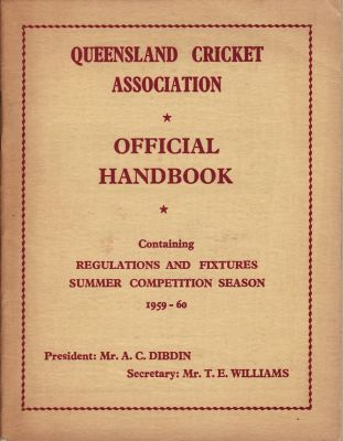 Queensland Cricket Association Official Handbook 1959-60
