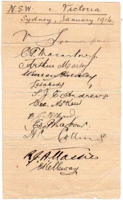 NSW Team Autographs 1914