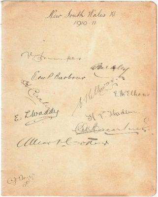 NSW Autograph Sheet 1911