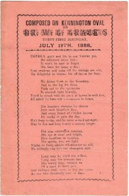 Dr WG Grace, Poem by Albert Craig