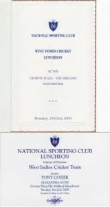 West Indies Tour to UK 2000 Menu and Invitation Card