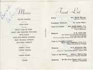 Wombwell Cricket Lovers Society Silver Jubilee Dinner Menu