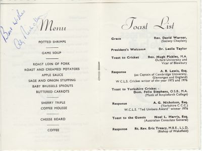 Wombwell Cricket Lovers Society Silver Jubilee Dinner Menu
